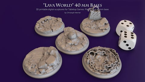 "Set of five 40 mm Bases for my ""Lava World"" series for Tabletop Games"
