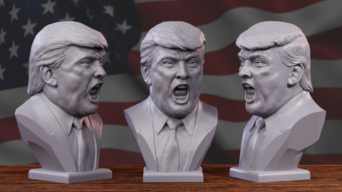 Angry Trump , model for 3D printing