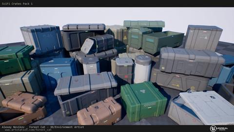 SciFi Crates Pack 1 Unity UE4