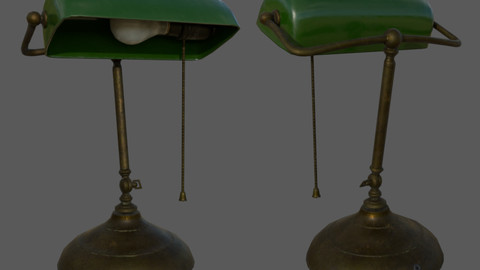 Vintage Banker Lamp - Textured 3D Low Poly Model