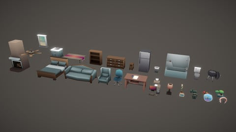 Low Poly Household Props Pack