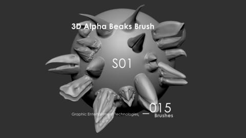 3D Alpha Brush Beaks Series 1 _015 - For ZBrush