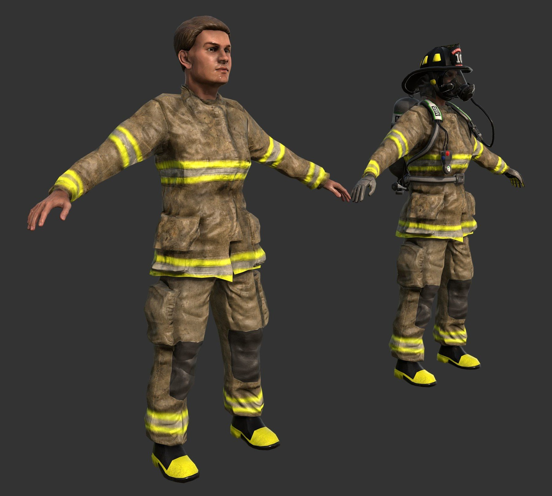 PBR Seamless Textures - Firefighter Character 3D Game Ready
