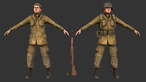 WW2 World War 2 Soldier Game Ready 3D Lowpoly Character Model