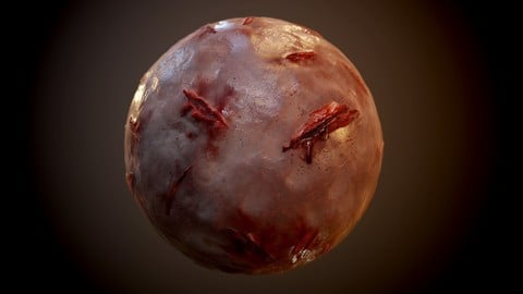 Human Flesh Skin Monster Zombie Cut Bloody Seamless PBR Texture
