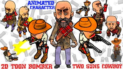 2D toon bomber and 2 guns cowboy character