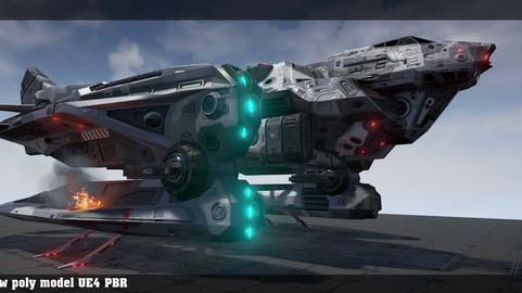 Sci fi ship lowpoly game model Unity UE4 PBR