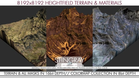 8k Heightfield Terrain & Materials - Stingray Lands
