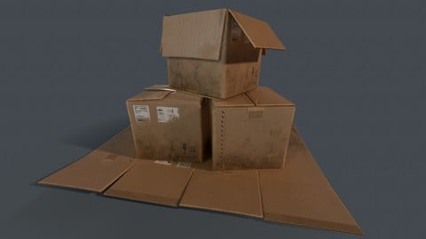 Cardboard Box Bedroom Clutter (PBR Game Ready)
