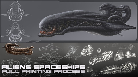 Aliens spaceships pack [full painting process in Photoshop]