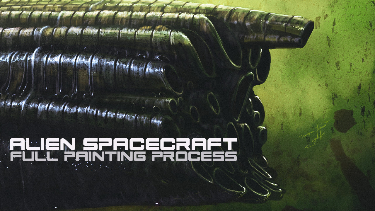 Alien spacecraft [full painting process in Photoshop] by Dmitrii Ustinov