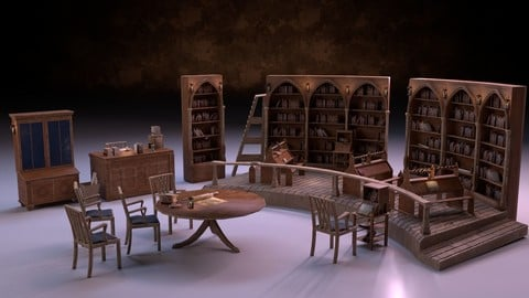 Medieval Library Model Pack PBR Low-poly 3D model