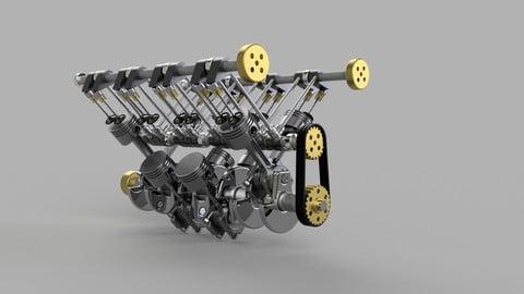 V8 Crankshaft, Pistons and Valves 3D Model