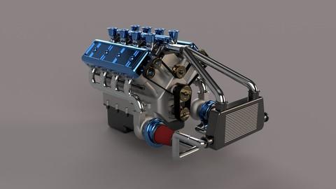 V8 Biturbo Engine 3D model