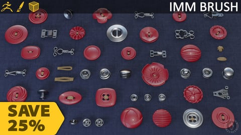 BUTTONS FASTENERS IMM BRUSH BUNDLE