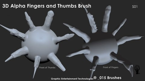 3D Alpha Fingers and Thumbs Brush for ZBrush