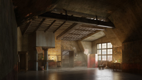 La bohème -In soffitta- (scenografia fondale - fondali da videoproiettare -backdrop design)