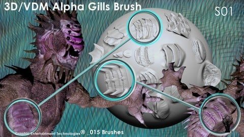 3D Alpha Brush Gills Series 01 _015 - For ZBrush