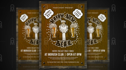 New Year Beer Party Poster / Flyer