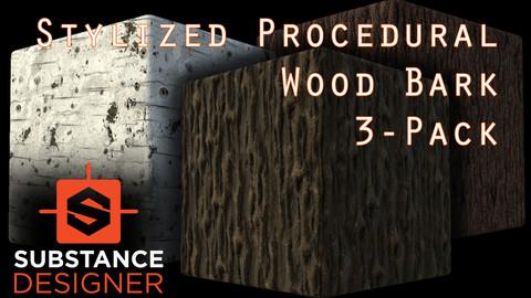 Stylized Procedural Wood Bark 3-Pack