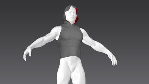 Clothes for Marvelous Designer: Vest Muscular with Hood