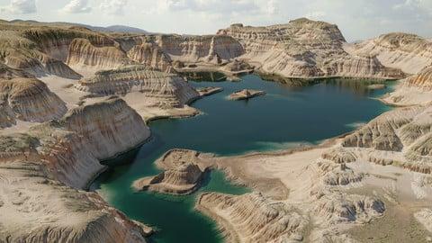 Terrain - canyon with lake - 16k scene