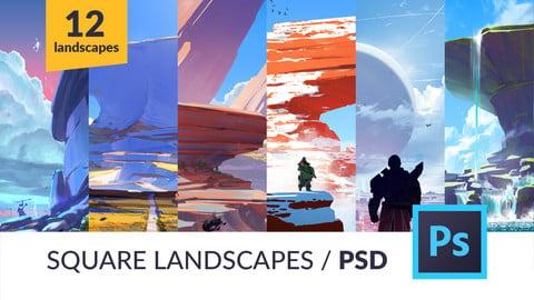 12 Square Landscapes / PSDs