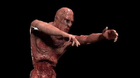 Walking Zombie Rigged Animated Game-Ready 3D model Low-poly 3D model