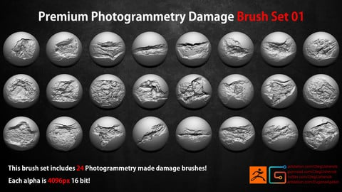 Photogrammetry Wall Damages Brushes + Alphas  Vol 1