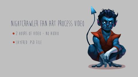 Nightcrawler fan art process video