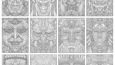 Intricate Faces - Highly detail illustration, mask designs and motif