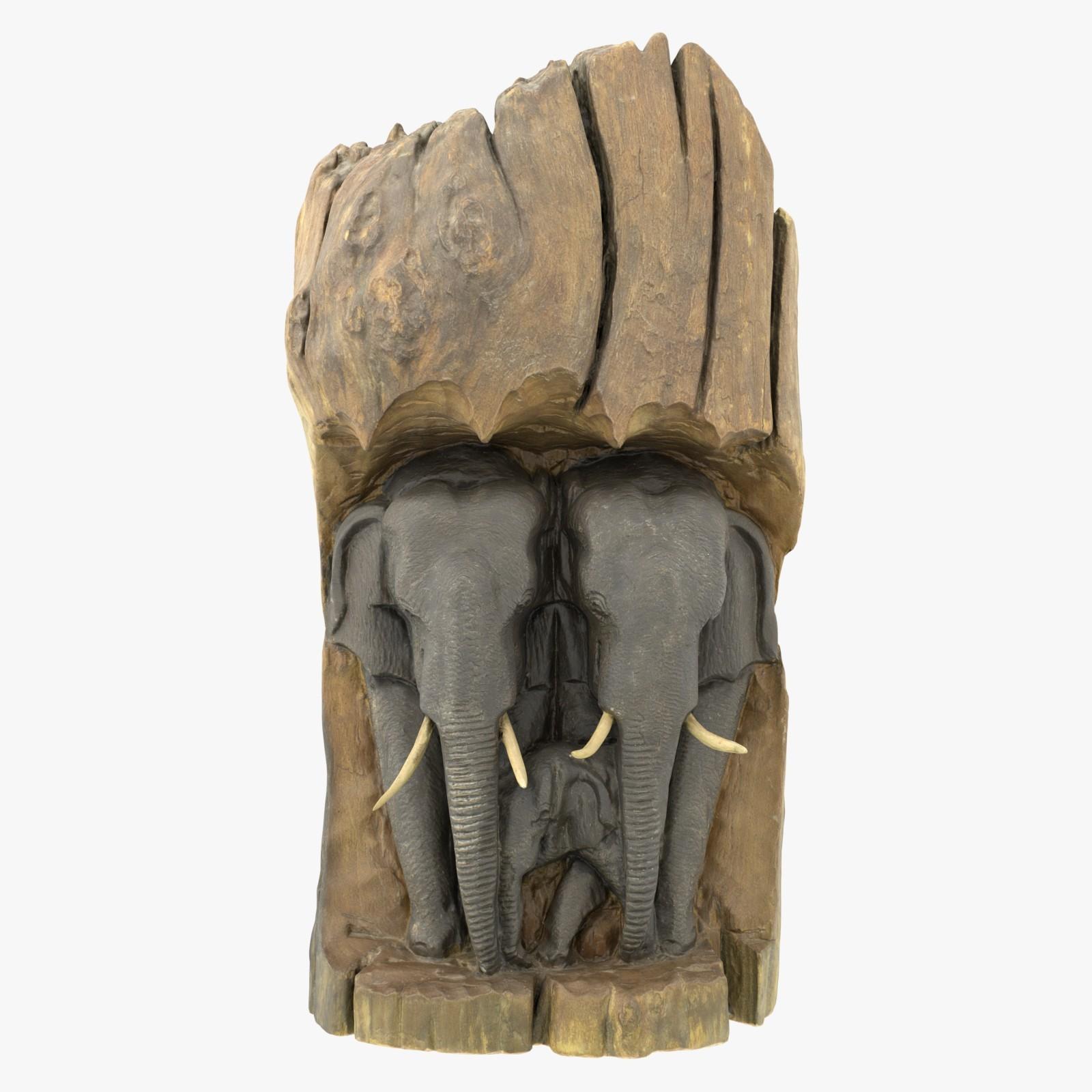Casper Hane - Elephants Carving 3D Model