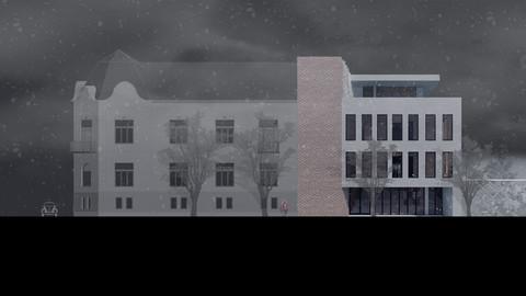 Winter scene with facades