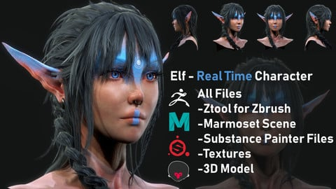 ELF - REAL TIME / 3D Model / ALL Software Files / 4K Textures