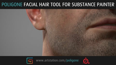 Poligone Facial Hair Tool for Substance Painter
