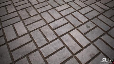 Concrete Herringbone Bricks - Substance Designer Material