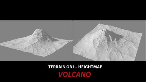 TERRAIN OBJ + HEIGHTMAP -- VOLCANO