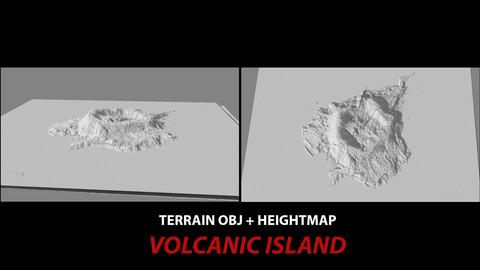 TERRAIN OBJ + HEIGHTMAP -- VOLCANIC ISLAND