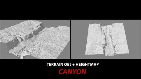 TERRAIN OBJ + HEIGHTMAP -- CANYON