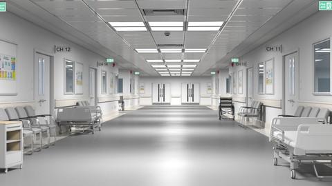 Hospital Hallway 4 Modular 3D Model