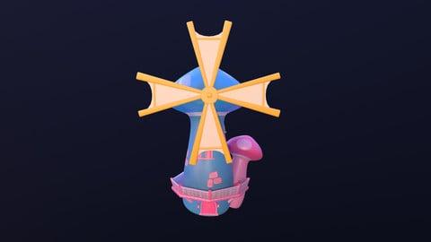 Asset - Cartoons - Background- Windmill - 3D Models
