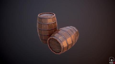 Lowpoly Wood Barrel