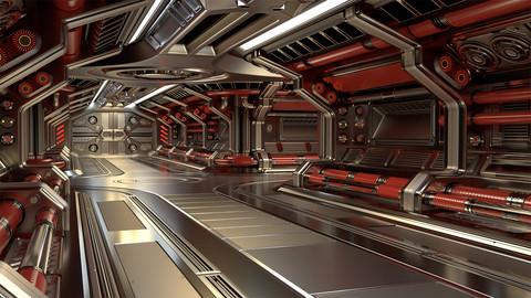 Sci Fi Modular Corridor BASIC EDITION (3ds Max 2016, OBJ, FBX)