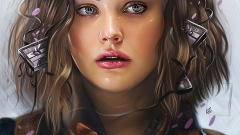 Portrait Illustration Process / Katherine Langford / + 10 Full size Illustration files
