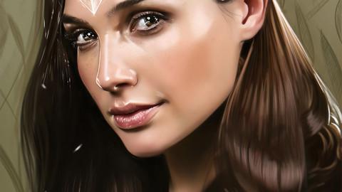 Realistic Portrait Painting  - Gal Gadot / WonderWoman ( 114  layers + 10 Bonus Illustration JPG Files !  )