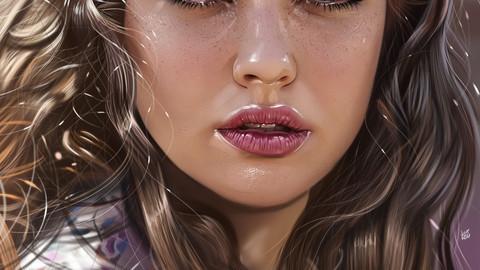 Realistic Portrait Painting - Katherine Langford ( 114 layers + 10 Bonus Illustration JPG Files ! )