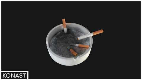 Ashtray VR / AR / low-poly 3d model