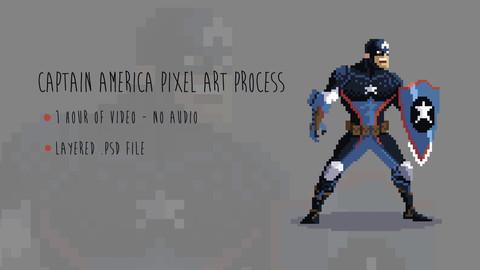 Captain America Pixel Art Process Video