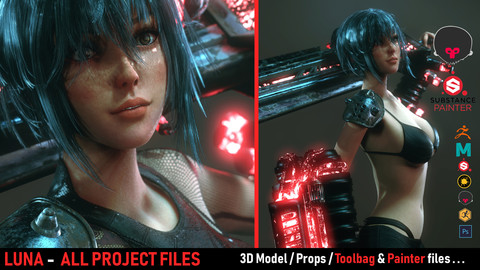 LUNA Full Project - Real Time/ 3D Model / 4K Texture & Files ( Marmoset Scene + Substance Painter Files )