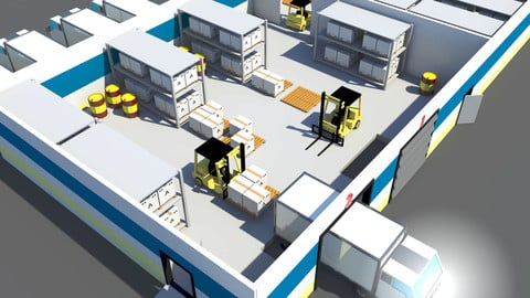 Low Poly Warehouse with Forklift and Truck